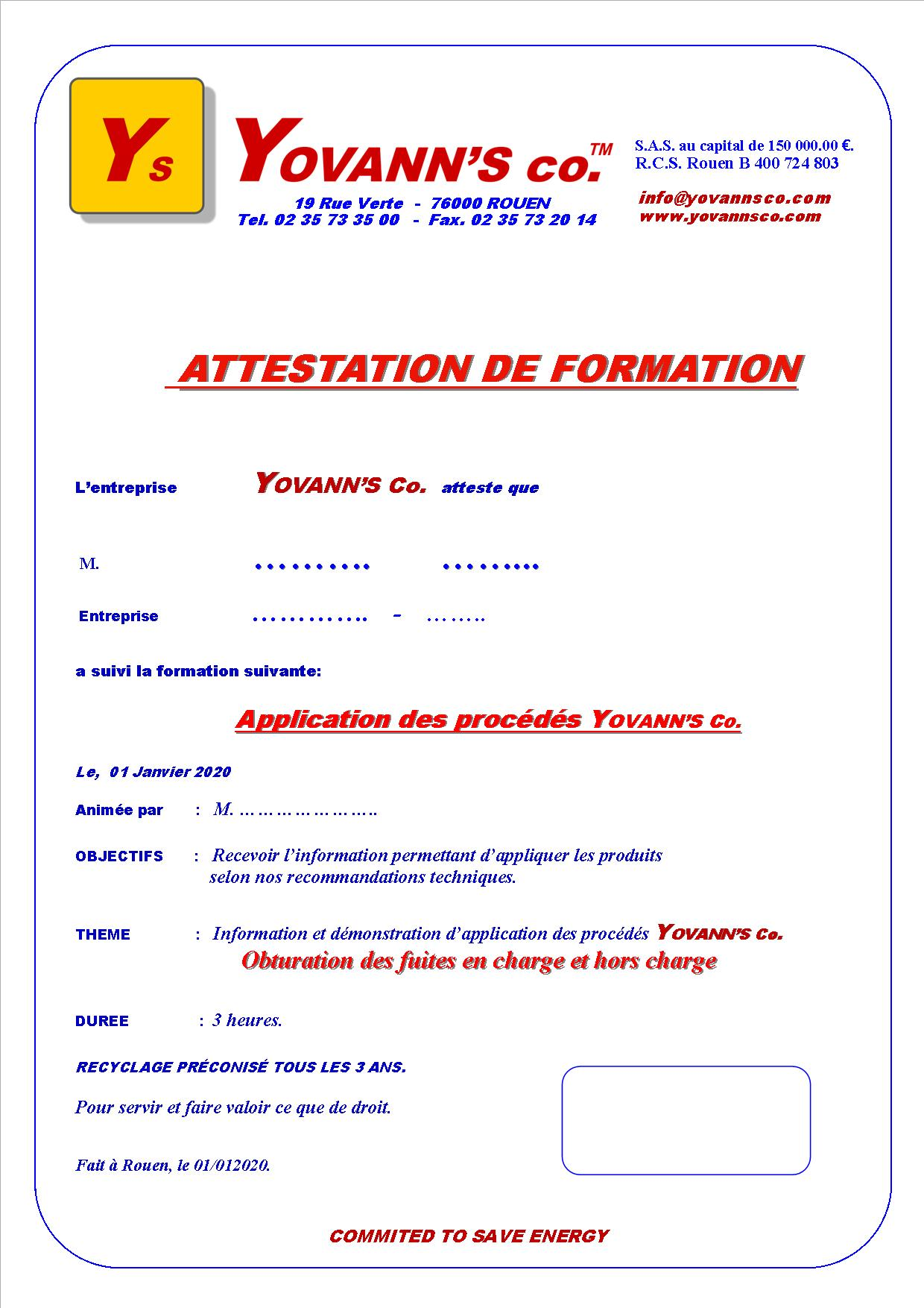 Attestation de formation Yovann's Co